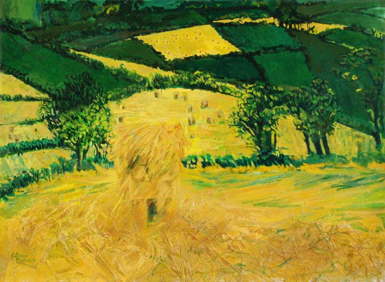 """Haystacks Near Cushendall"" Acylic collage on paper 44 x 60cms, 1983"