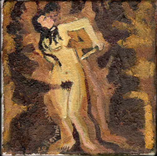 He Wound Her Coal Black Hair (W.B.Yeats, Crazy Jane) 20 x 20cms, oil on canvas