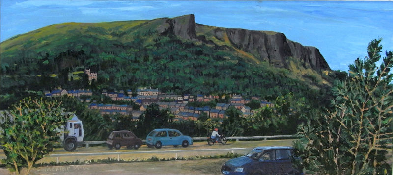 M2 and Cave Hill, oil on canvas, 31 x 71cms