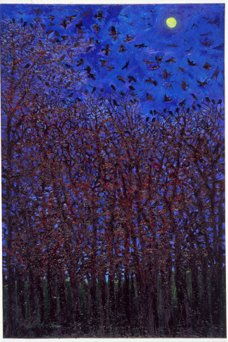 """""""Moonlit Trees and rooks"""" , oil on canvas"""