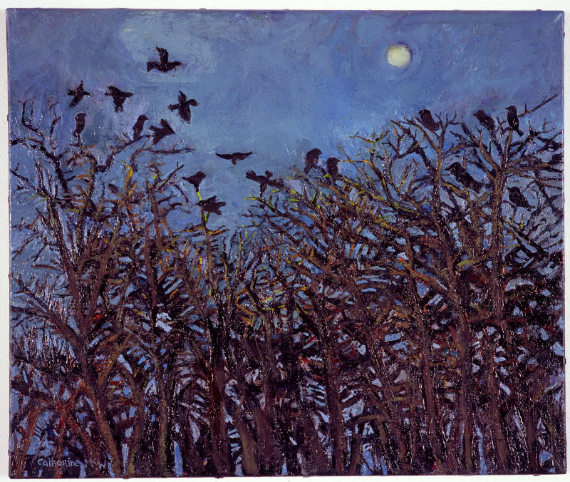 Pale Moon and Rooks, oil on canvas, 51 x 61 cms