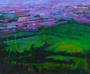 Pink City and Fields oil on canvas 72 x 86