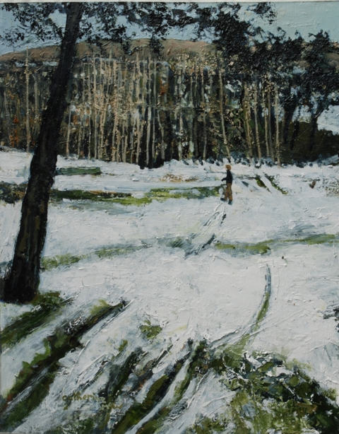 """Quiet on the Hill"" oil on paper, 49 x 39 cms"