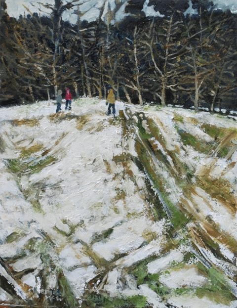 """Sleigh Tracks"" oil on paper 46 x 36 cms"