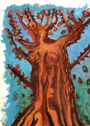 """Tree with Falling Leaves"" Acrylic on paper, 33 x 23cm"