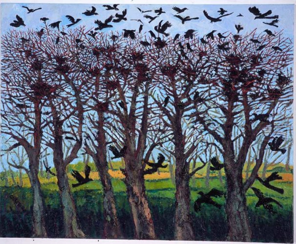 """Trees with Birds 2"" , oil on canvas, 2006"