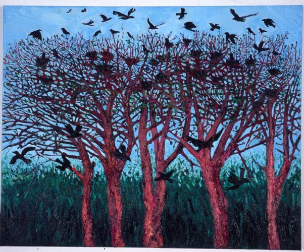 """Trees with Birds 1"" , oil on canvas, 2006"