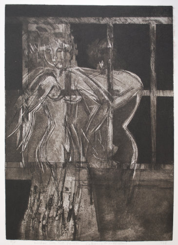"""""""Window with Two Figures"""" Etching 1979"""