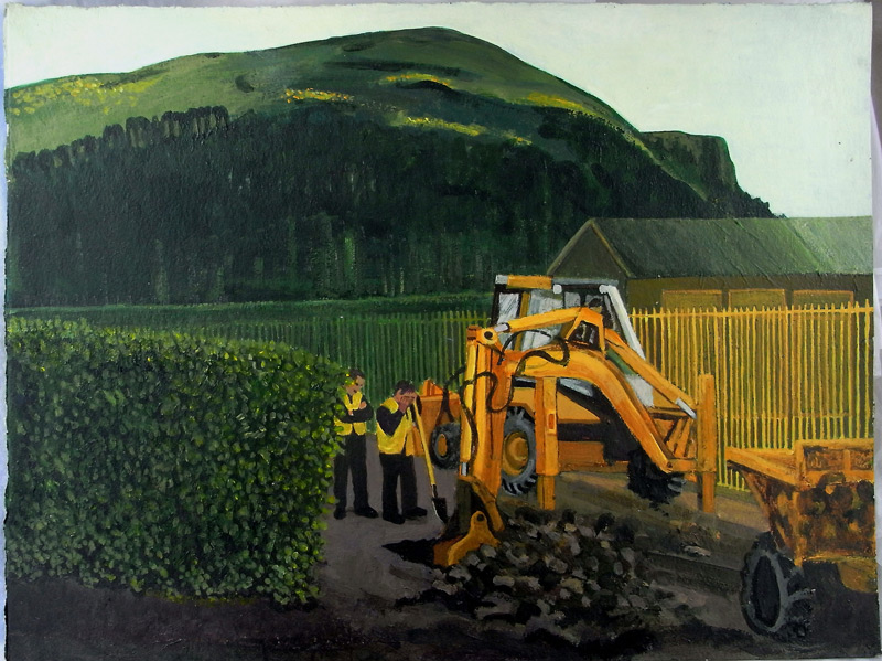 Yellow Digger, Cave Hill Acrylic on Card 36 x 51cms