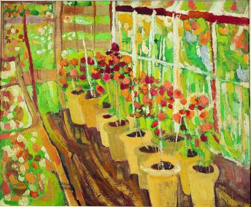 """Allotments"" 1967, oil on board 53cm x 66cm"