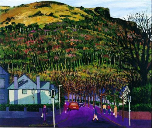 Cave Hill People Traffic Lights, oil on canvas, 51 x 51 cms