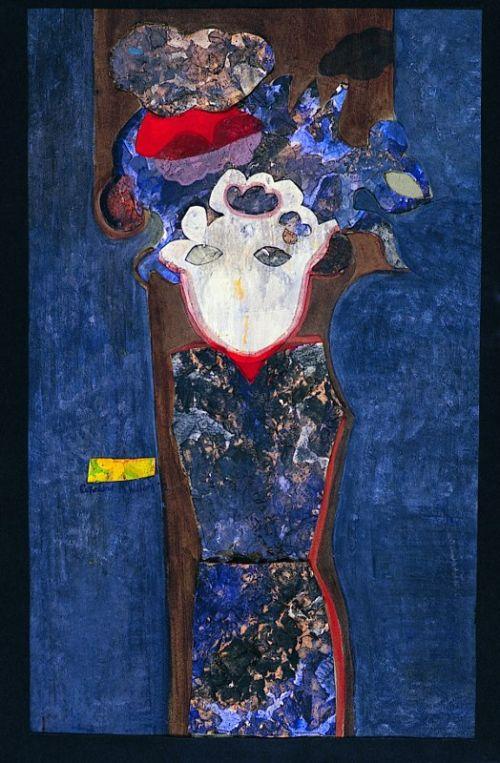 """Dark Lady"" 1972 mixed media on paper 46 x 28cms"