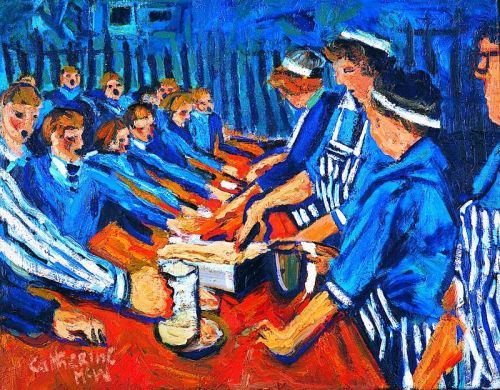 Dinner Ladies Serving, 56 x 71cms , Arts Council Collection Northern  Ireland