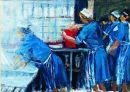 """Dinner Ladies, study no. VI""  1994 oil on canvas 10 x 14"""