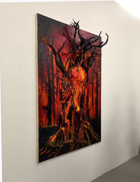 """""""Gaia Burning"""" mixed media on canvas, from """"Rebel Godess"""" at Seen Fifteen Gallery"""