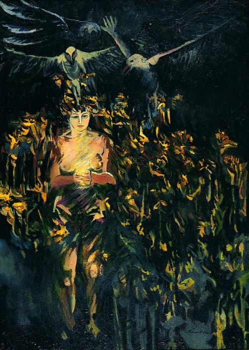 "1983 ""Girl with Birds and dying flowers"""