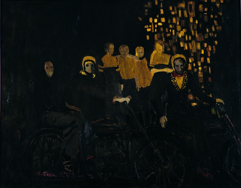 """Girls and Motorobikes"", oil on board, 20 x 25 inches, 1973"