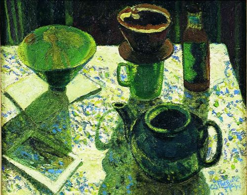 """Green Teapot Still Life"", oil on canvas, 16 x 20 inches, 1997"