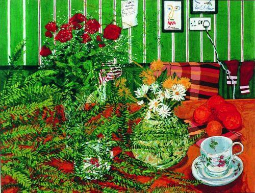 """""""Green wallpaper still life"""", Acrylic on paper, 1988"""