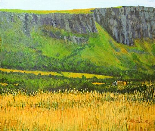"""Hayfield under Ben Evenagh"", acrylic on paper, 20 x 24inches, 2000"