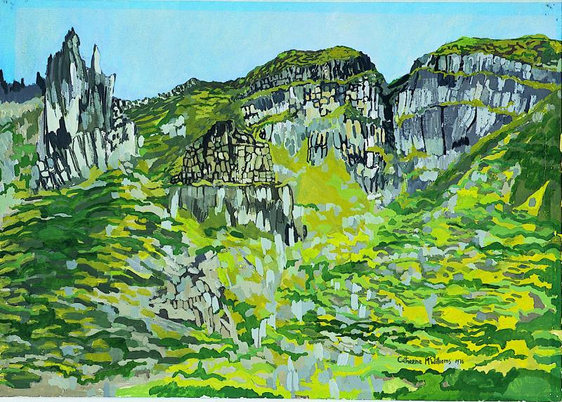 """Hidden Village, County Antrim"", acrylic on paper, 1976"