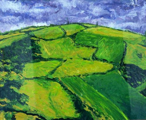 """Hill near Roscarberry"" , Acrylic on paper, 24 x 30 inches,1991,"