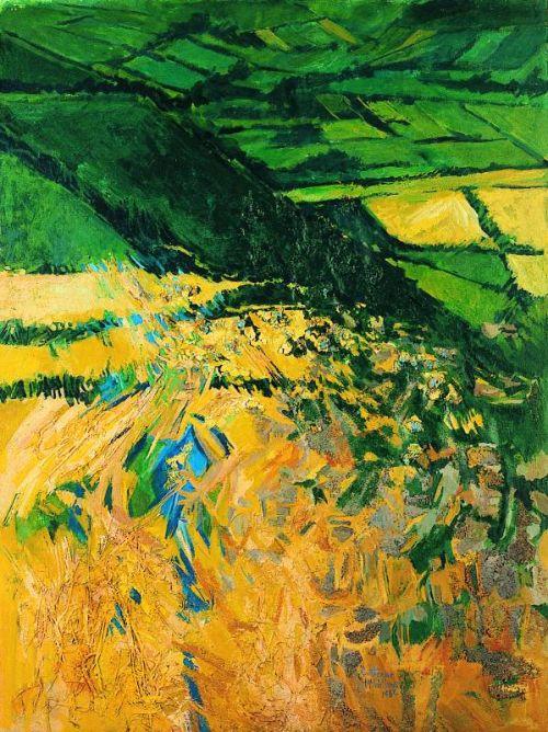 """Irish Landscape I"", mixed media on paper, 1983, 30 x 22inches"