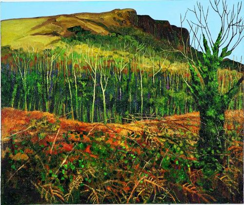 Ivied tree and Cave Hill, oil on canva, 72 x86 cms