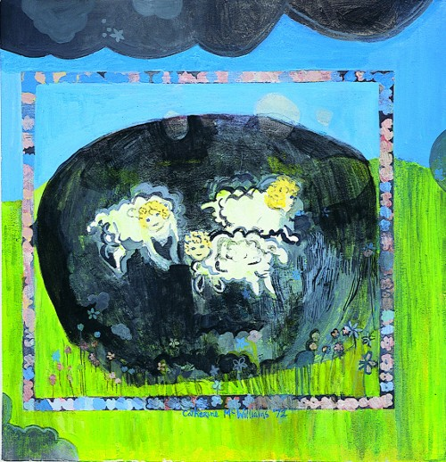 """Little Lambs"" acrylic on paper 16"" x 16"" 1972"
