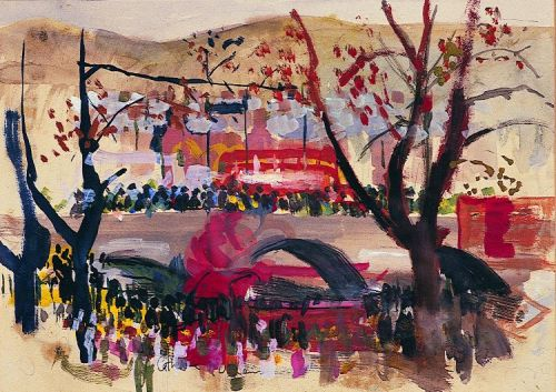 """Lord Mayors Parade"" 1965, gouache on paper, 25cmx 33cm"