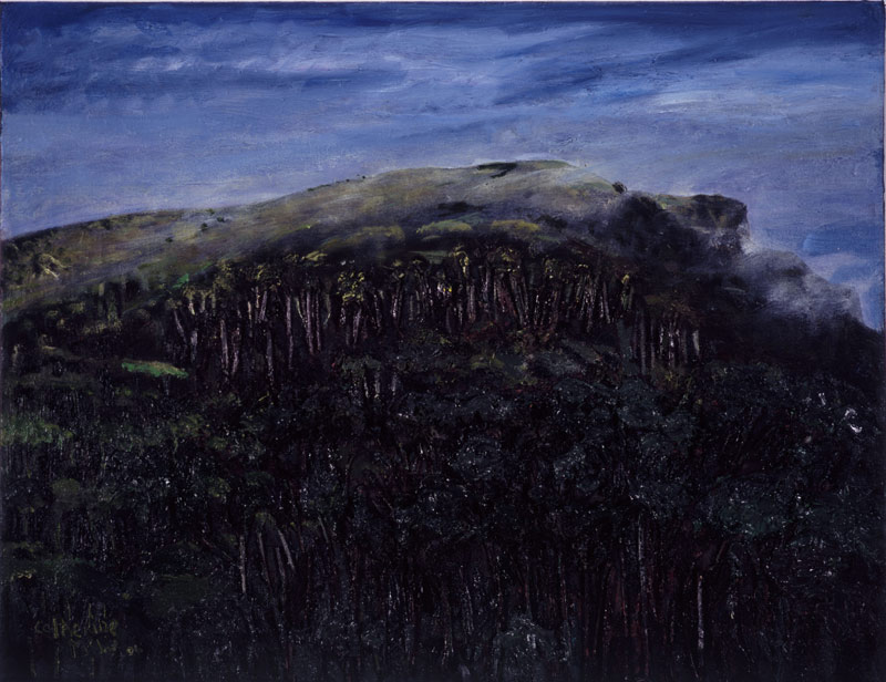 Misty Cave Hill, Mixed media on canvas 52 x 67 cms