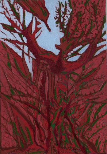 """""""Pink Bird"""" linocut relief print, 30 x 20 cm"""