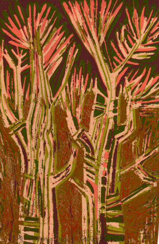 """Pink Trees"" lino relief print, edition of 8, 30 x 20cm 2014"