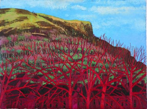 """Red Trees"" mixed media on paper,  17 x 23 inches, 2003"
