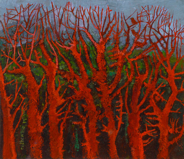 Red Trees and Misty Hill oil on canvas30 x 35
