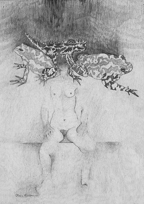 "1977 ""seated nude with frogs"""