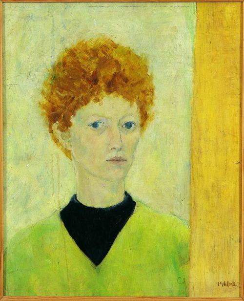 """""""Self Portrait, 1961"""" oil on board, 63 x 53 cms"""