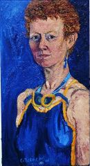 """""""Self Portrait and goggles 1991"""" oil on canvas 30 x 16"""""""