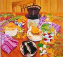 """Still Life With Burnt Toast"" Acrylic on paper, 21 x 23inches 1988"