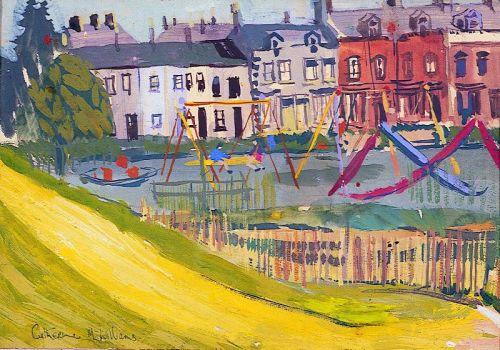 """""""Swings in the Waterworks"""" gouache on paper, 23 x 33cm, 1966"""