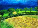 """The Field, Cushendall"" mixed media on paper , 1985 , 20 x 27inches"
