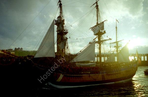 HMS Endeavour draped in sunlight