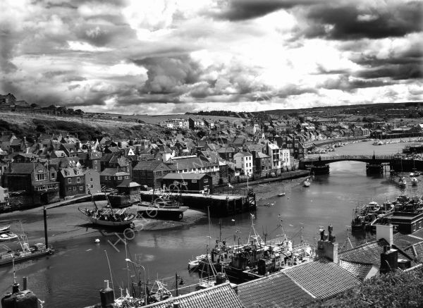 Whitby Harbour in Black and White