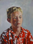 Young boy in loud shirt
