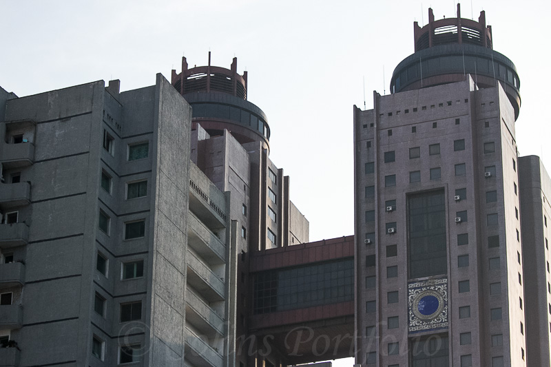 The upper section of the twin towers of the Koryo Hotel