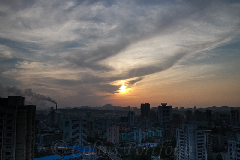 The clouds/smog increase as the day ends