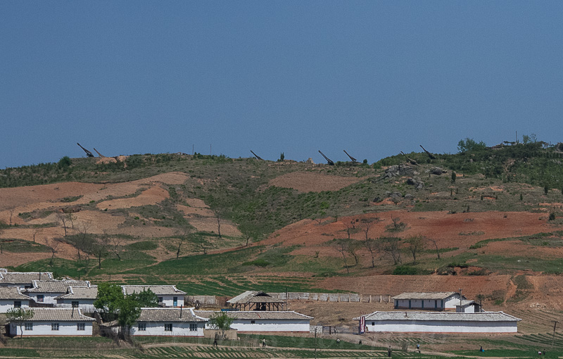 A settlement, seen heading north from Pyongyang