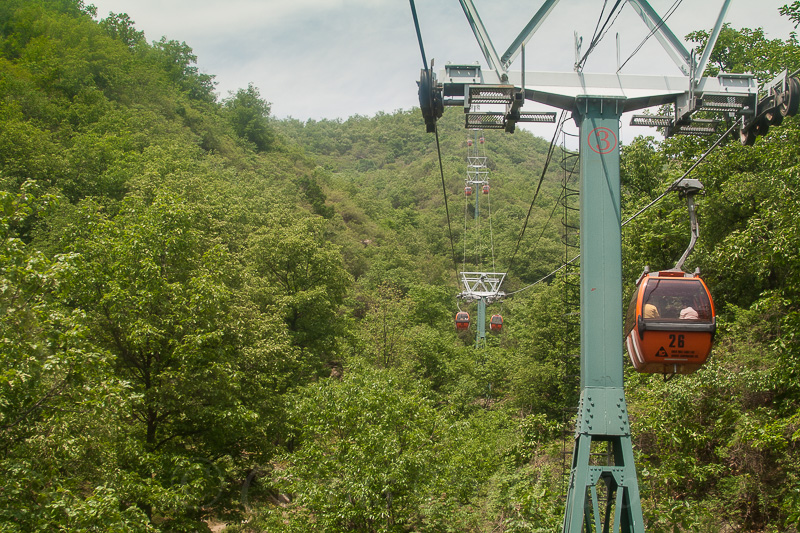 Taking the cablecar ride up to the Great Wall