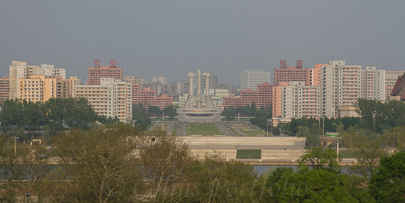 The Monument to Party Founding, in the Taedonggang District, viewed from the other side of the river.