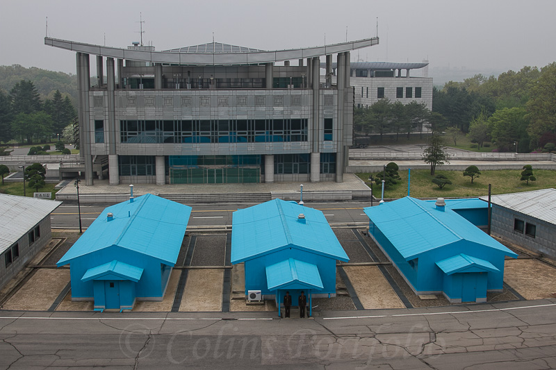 The huts that straddle the border between North & South Korea.